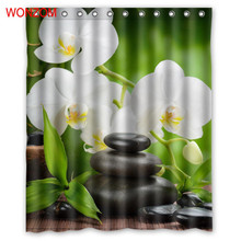 Купить с кэшбэком WONZOM Orchid Bamboo and Stone Shower Curtains For Bathroom Decor Modern Flower Bath Curtain with 12 Hooks Mildewproof 2017 Gift