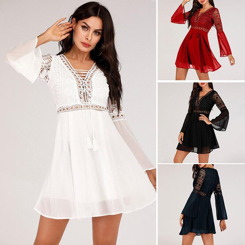 Hollow Out White Dress Sexy Women Mini Chiffon Dress 52