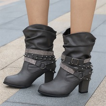 цены VTOTA Rivet Leather Ladies Ankle Boots Autumn Round Toe Short Plus Zip Buckle Western Boots Motorcycle Thick With Botas Mujer