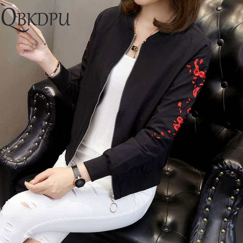 Solid color black plum embroidery   jacket   thin summer sunscreen Women Causal windbreaker Women   Basic     Jackets   Coats Zipper   Jackets