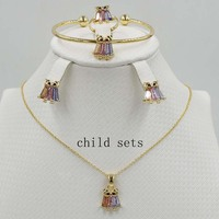 New Arrival Baby and Kids Jewelry Sets Gold color Set Children Jewelry Crystal Necklace Earrings Ring Bracelet Gift