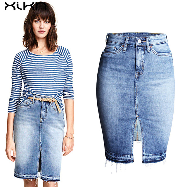 15e2bb36eb XIKN Women Jeans Skirt Sexy Women High Waist Jean Straight Skirt Split Jeans  Skirts Womens Bodycon Denim Skirts AI128