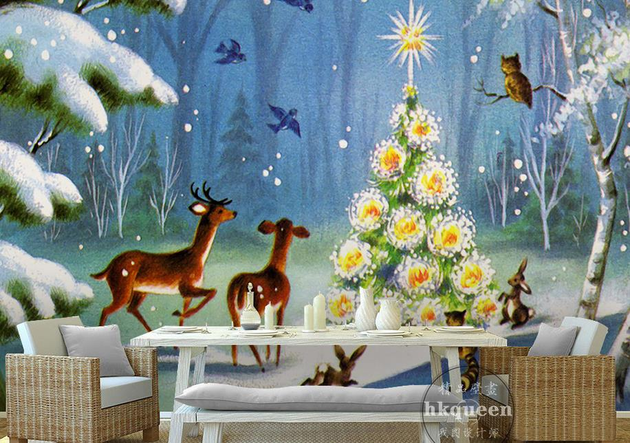 Customize 3d wall murals wallpaper forest deer christmas for Deer mural wallpaper