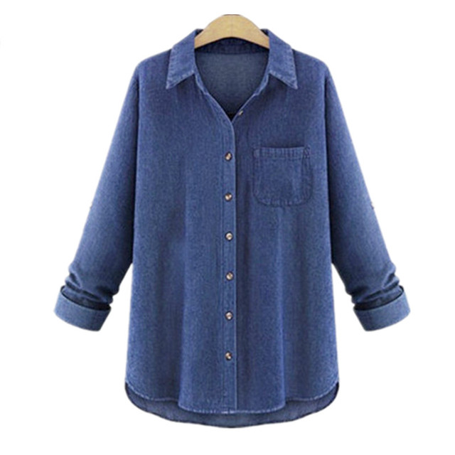 f8d0780f94 Big Size Loose Autumn Vintage Denim Blouses And Shirts Women Plus Size 4XL  5XL Long-