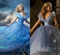 Romântico vestidos com apliques vestidos de baile de cinderela azul Sexy Prom vestidos Cap manga curta