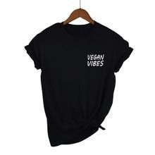 14b943e44 VEGAN VIBES Pocket Letters Print Women Tshirt Cotton Casual Funny t Shirt  For Girl Top Tee