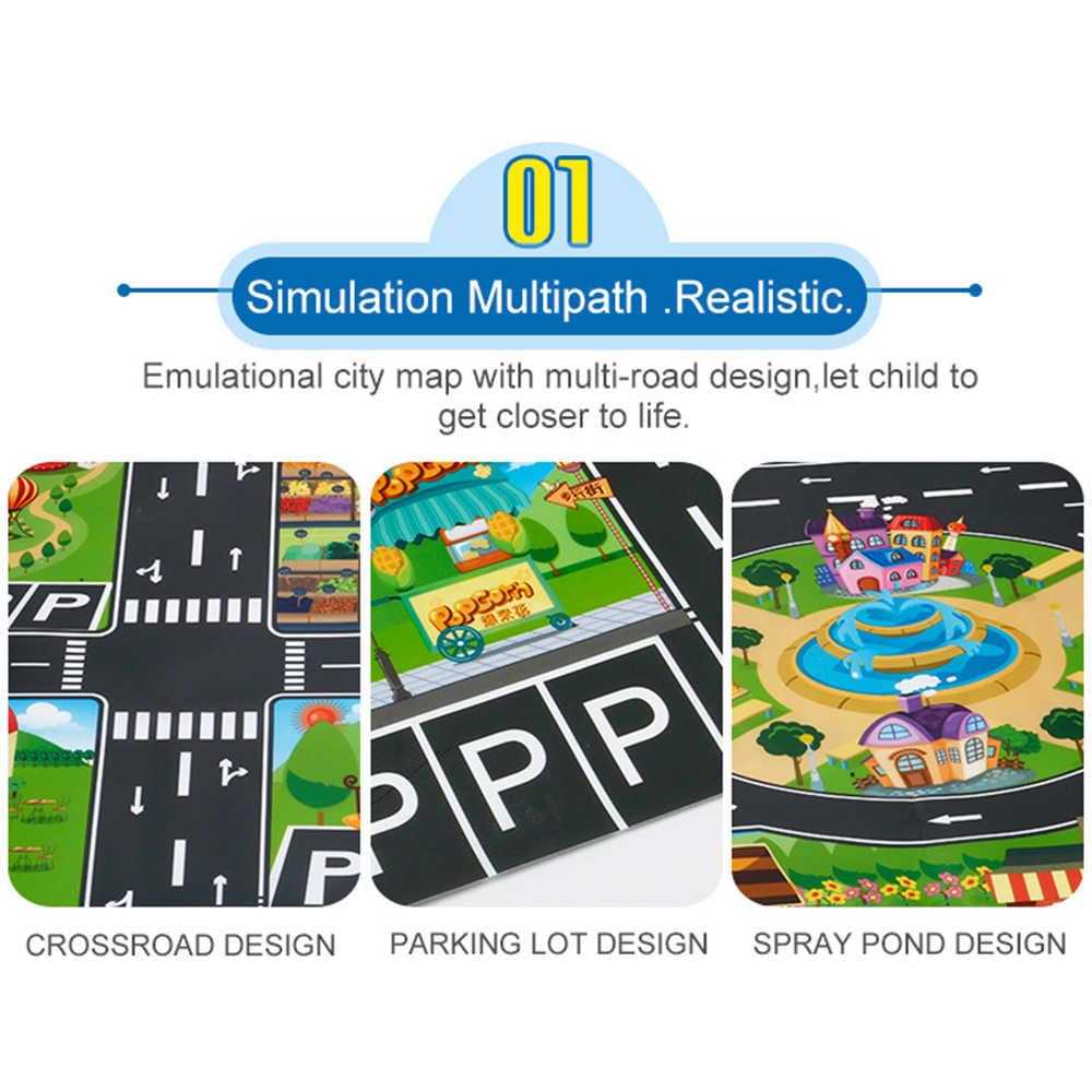 Señal de tráfico de carretera modelo de coche aparcamiento mapa alfombra de gateo agrandar simulación impermeable ciudad de juguete jugando juego de suelo portátil J1