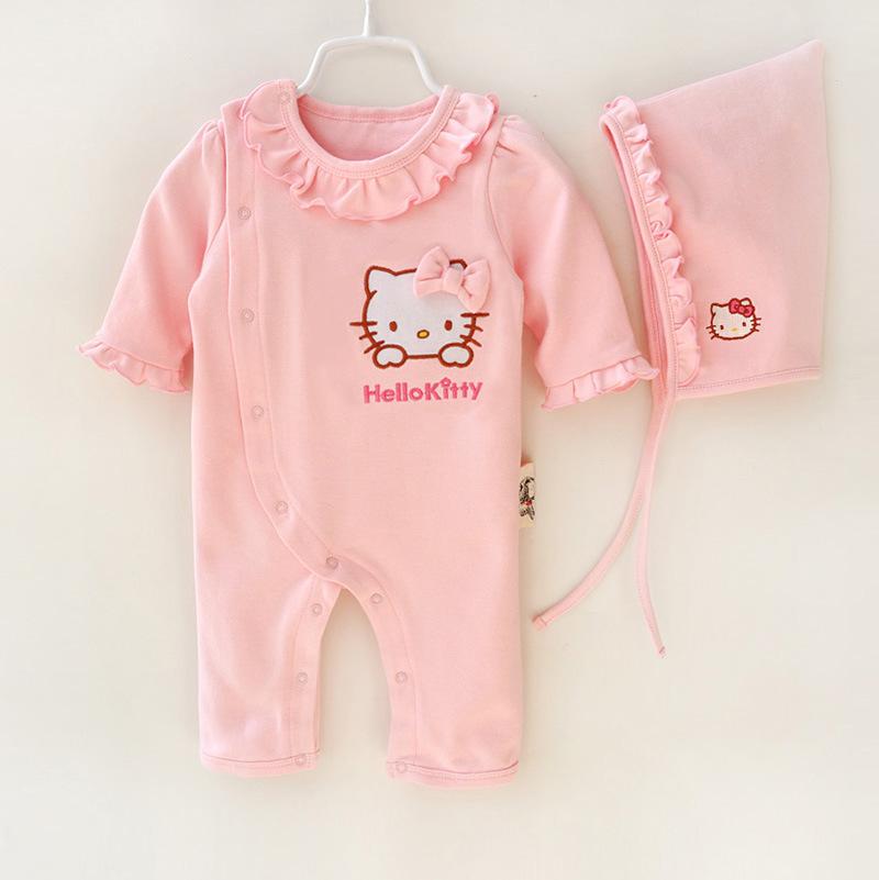 HTB1ys.RJFXXXXXlXpXXq6xXFXXXM - 2 Pcs Newborn Girl Organic Cotton Hello Kitty Romper Set Baby Cute Pink Jumpsuit with Hat New Born Ruffled Collar Bowknot Outfit