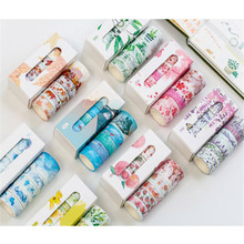 5 Rolls Washi Tape Set Lavender Sakura Theme Adhesive Masking DIY Sticker Photo Album Diary Scrapbook Decoration Paper