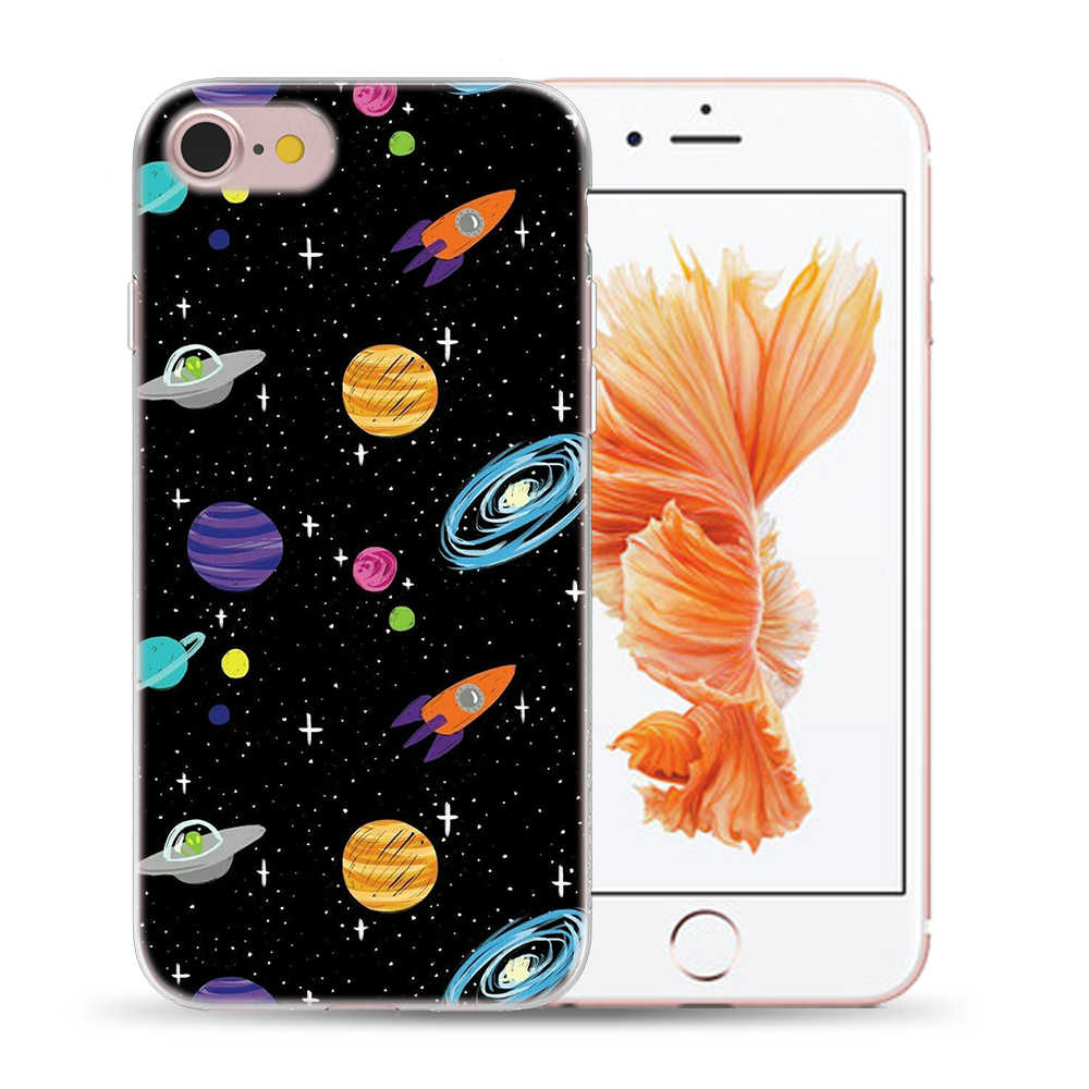 Oil Painting On Landscape Stars Case Cover For iPhone 7 8 X XS XR XS MAX 5 5S SE 6S 6 S Soft Silicon Starry Sky Phone TPU Cases