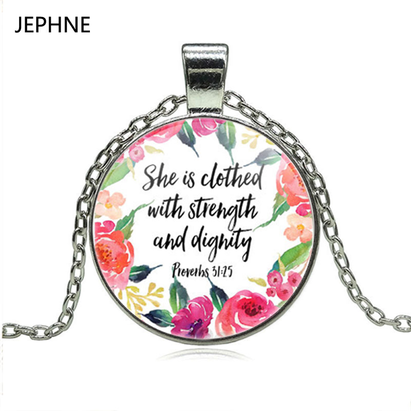 Verse She Is Clothed With Dignity: JEPHNE She Is Clothed With Strength And Dignity Necklace
