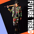 Camouflage stitching mlb male costume Hip hop dancer singer dress performance show nightclub bra clothing Fashion Blazer Slim