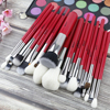BEILI Red Professional Makeup Brushes Set Natural Hair Powder Foundation Blusher Eye Blending brow liner Makeup Brush Tool