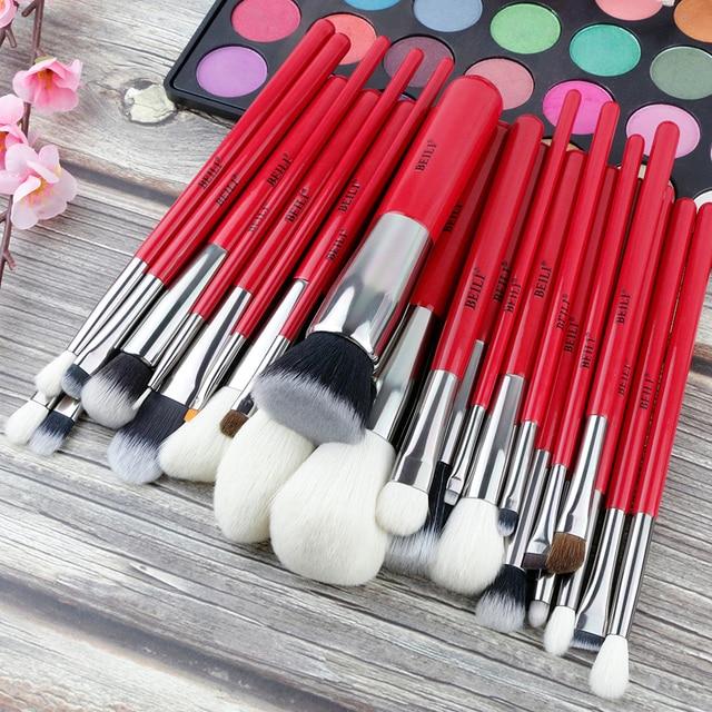 Set de brochas de maquillaje profesionales BEILI Red, brocha de maquillaje Natural para cabello, base, colorete, mezcla de ojos, delineador para cejas, herramienta de brocha de maquillaje