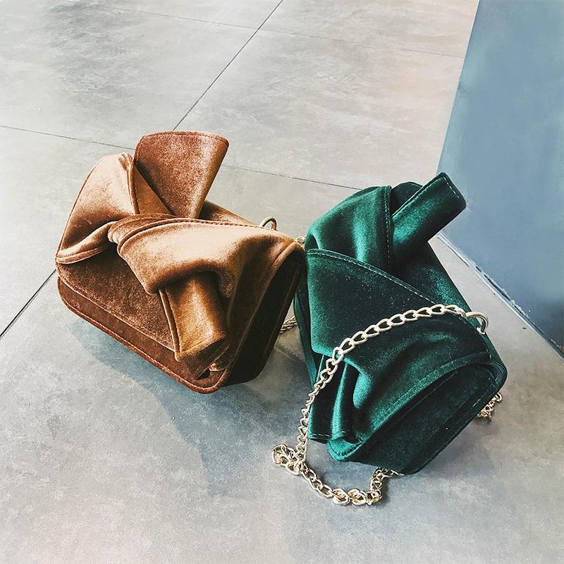 Lydian 2018 Catwalk Korean Fashion Velvet Bow Tie Totes Winter New Small Chain Shoulder Bag Retro Clutches Handbag Messenger Bag