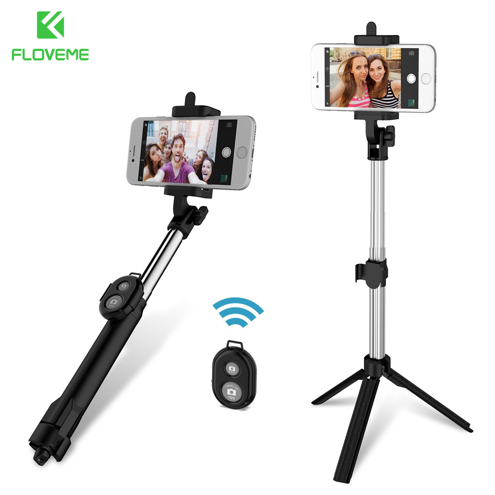 FLOVEME Phone Tripod Selfie Stick Bluetooth Foldable Selfiestick For iPhone Android For Samsung Xiaomi Huawei Remote Handheld