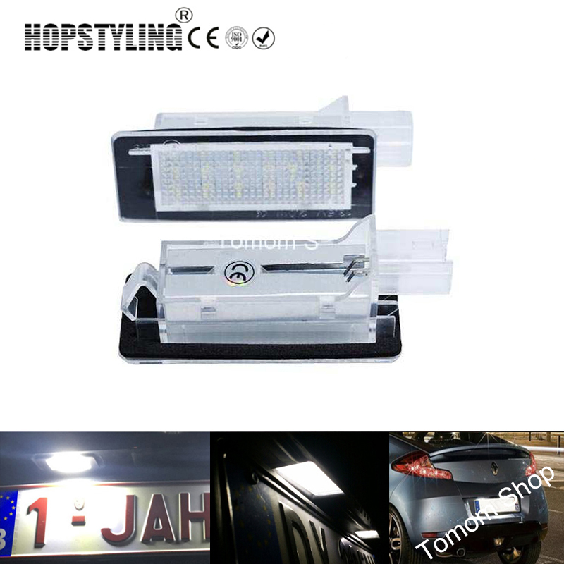 2x Free Error <font><b>LED</b></font> rear number plate lamp For <font><b>Renault</b></font> Clio Espace Fluence Laguna Latitude Grand <font><b>Modus</b></font> Zoe Scenic car styling image