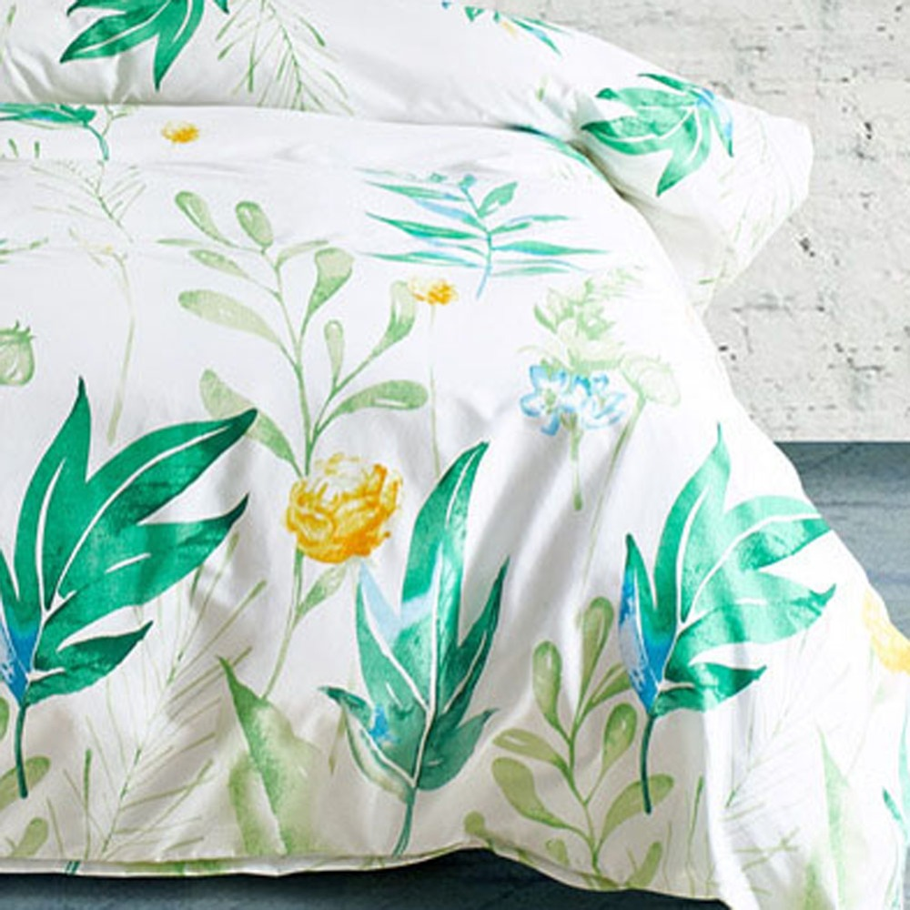 Green Leaves Bedding Set Pillowcase Duvet Cover Sets Bedclothes Flower Printed White Quilt Cover Polyester Sanding Home Textiles