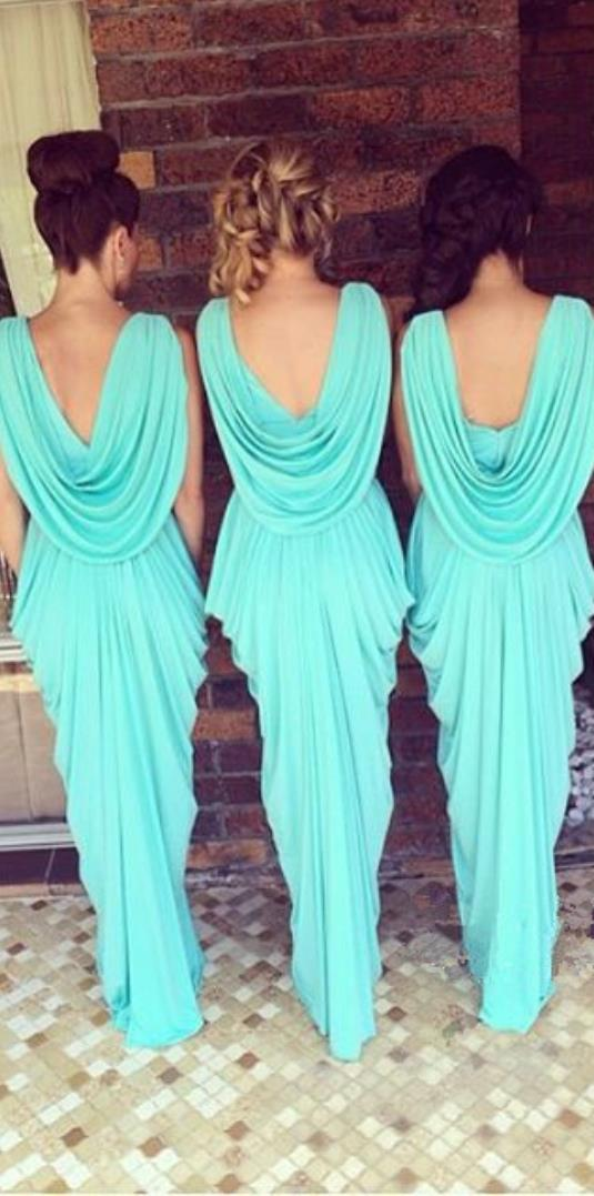 Glowing Teal   Turquoise Bridesmaid Dresses 2016 V Neck Drapped Ruffles  Chiffon Backless Junior Long Robe Demoiselle D honneur-in Bridesmaid  Dresses from ... 067542c43807