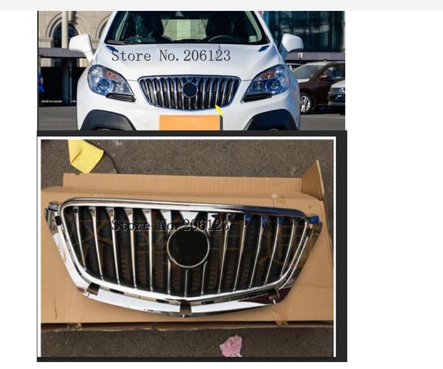 ABS Frente Chrome Bumper Grille Grill Superior Do Radiador Apto Para Buick Encore 2013-2016 1PC Com o logotipo
