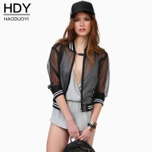 Haoduoyi 2017 New Mesh Sheer Black Outwear Beach Coats Casual Summer Baseball Coat Punk Rock Preppy Style Street Bomber Jacket