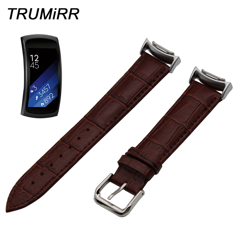 Calf Genuine Leather Watchband for Samsung Gear Fit 2 SM-R360 Watch Band Croco Strap Wrist Belt Bracelet Black Brown Red White 18mm genuine leather watchband tool for huawei watch women s smartwatch band wrist strap plain grain belt bracelet black brown