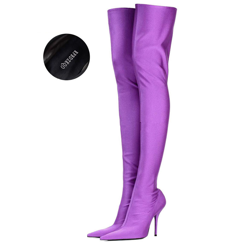 ad1f6a58686 Pointed Toe Shoes Satin Designer Over The Knee Dance Purple Stiletto Crotch  High Big Size Heel 12 44 Thigh Boots For Plus Women