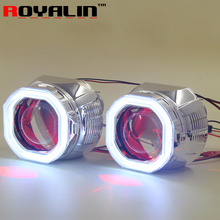 ROYALIN Car Motorcycle Square Headlight Lens Bi Xenon H1 Projector 2.5″ With LED COB Angel Devil Eyes White For H4 H7 lamp Retro