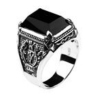 Black Obsidian Ring Vintage 100% Real Pure 925 Sterling Silver For Mens With Natural Stone Genuine Fine Jewelry Rock Fashion