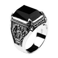 Preto Obsidian Anel Do Vintage Real de 100% Pure 925 Prata Esterlina Para Homens Com Pedra Natural Genuine Fine Jewelry Moda Rocha