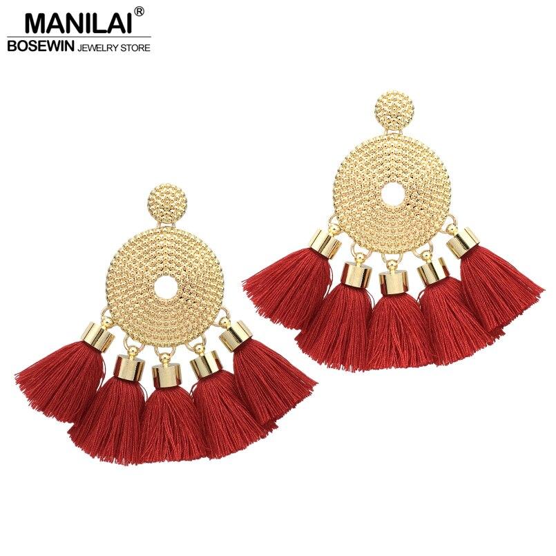 MANILAI 6 Colors Bohemian Tassel Earringss