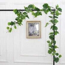 2.2 m seda realista guirnalda hoja verde follaje de alambre de hierro flor de la vid de ratán artificial para decoración de la boda diy guirnalda ma2252