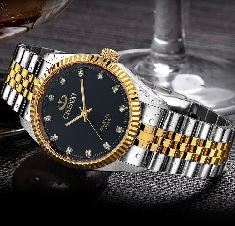 Chenxi hombres de lujo reloj de plata entre el oro rhinestone amante reloj correa de uñas clásico retro hombre mujer reloj de negocios
