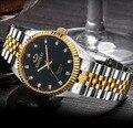 Chenxi hombres de lujo del reloj de plata entre el oro rhinestone reloj del amante correa de uñas clásico retro hombre mujer reloj del negocio