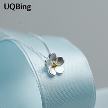 Drop Shipping 925 Sterling Silver Flower Necklaces Cherry Blossoms Necklace For Women Jewelry Collar Colar de Plata