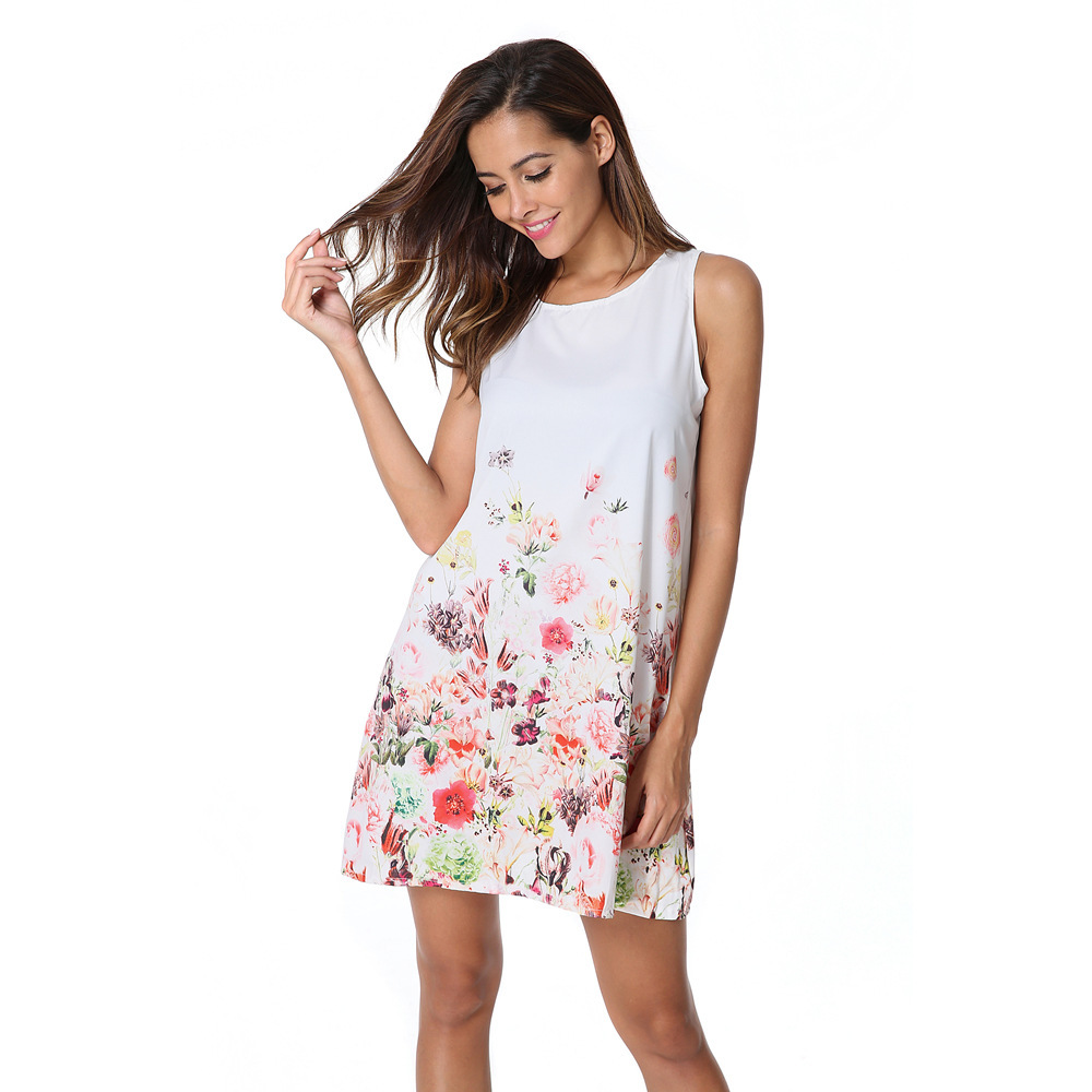 Sosaeg Europäischen Sleeveless Druck Chiffon party Kleid Frauen und ...