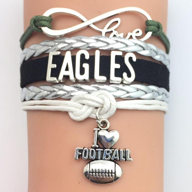 10 Pieces Lot High Quality Infinity Love Philadelphia Eagles Football Bracelet Green Silver