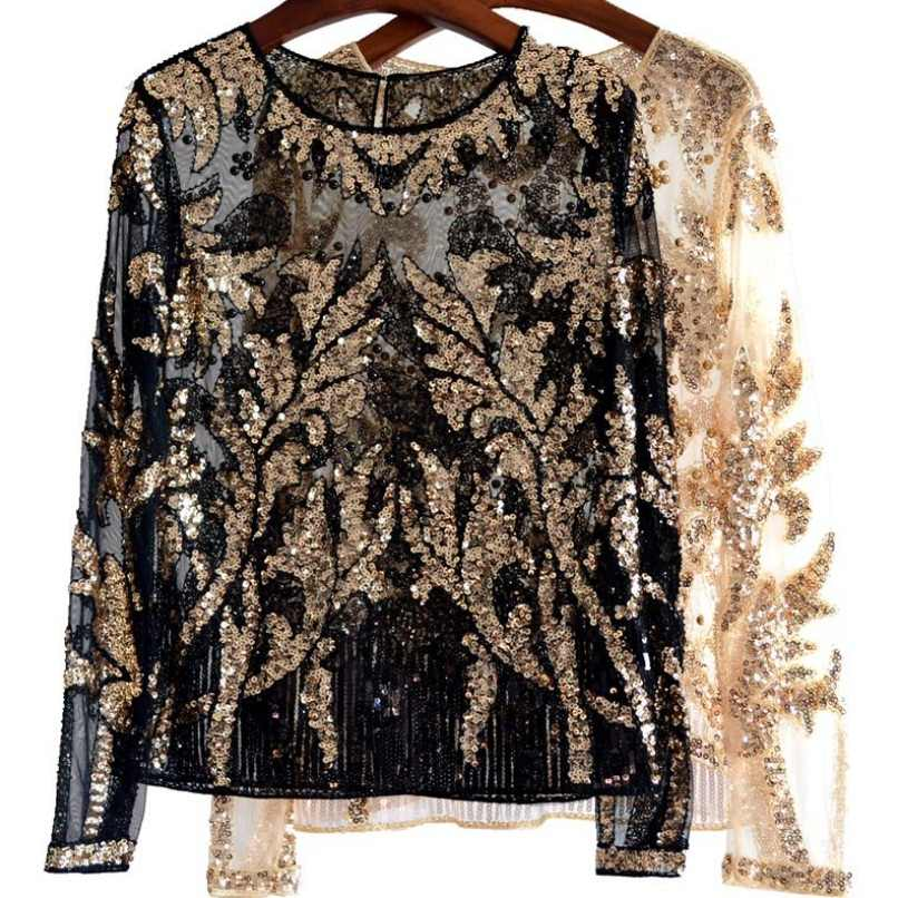 Luxury Sequined Lace Tops Women Sexy Pattern Beading Blouse New Long Sleeve  Blusas d82700a83717