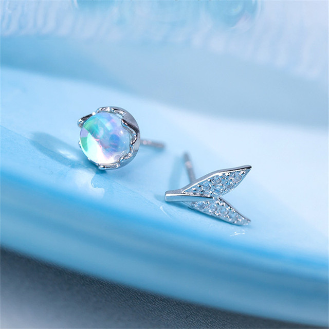 925 Sterling Silver Fashion Wedding Jewelry Adjustable Open Crystal Mermaid Ring for Women Ladies Finger Ring jz459 4