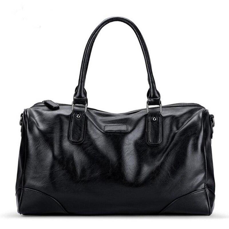 Mens tote luggage travel bag wome leather handbag business duffle bag waterproof male shoulder weekend bag suitcase bolsa viaje