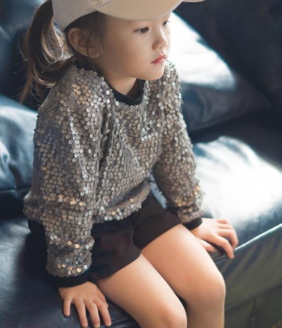 Muchachos de las muchachas coreanas suéter de gama alta lentejuelas hoodies 1-5 años de edad