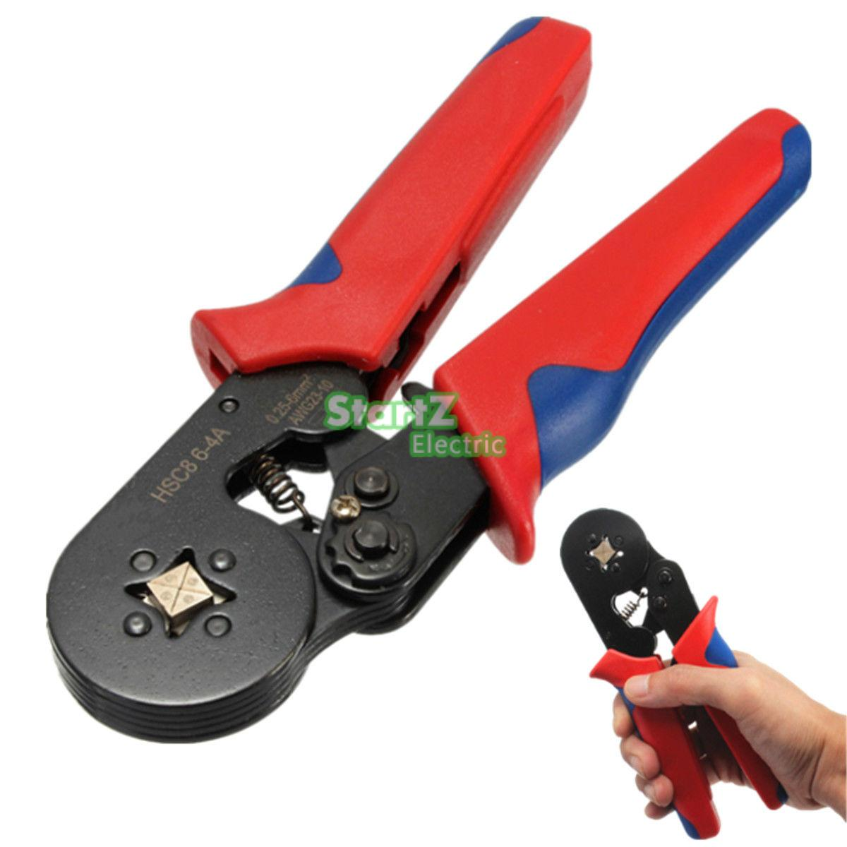Self Adjusting Ratcheting Ferrule Crimper Plier HSC8 6-4A 0.25-6mm2 AWG23-10 awg24 10 cable end sleeves crimping plier c 0816 self adjusting ratcheting ferrule crimper0 25 16mm2