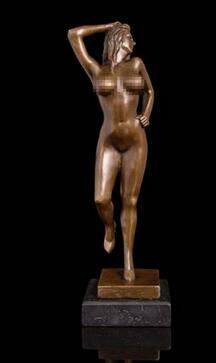 """Abstract Modern Art Nude Female Figure Bronze Sculpture Signed Original 14/"""" x 5/"""""""