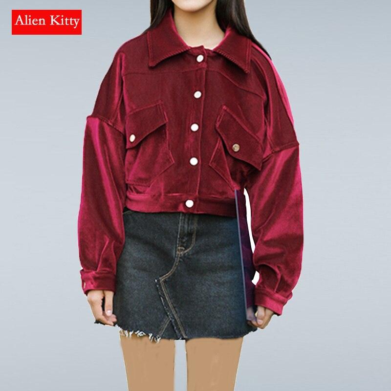Alien Kitty Women   Basic   Coats New Spring Autumn Fashion Vintage Long Sleeve Loose Gold Velvet Short   Jacket   Female Outwear Tops