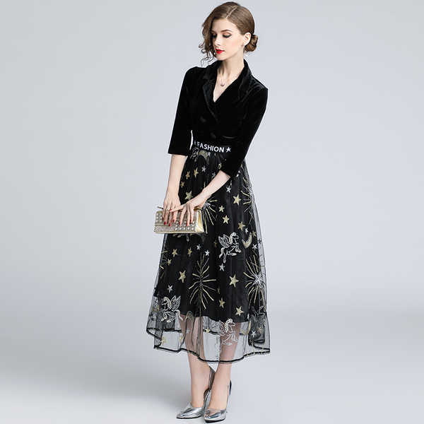 bfc1fa8a1c5 ... Spring Autumn Fashion Mesh Patchwork Velvet Dress Graceful Turn-down  collar Luxury gold Star moon ...