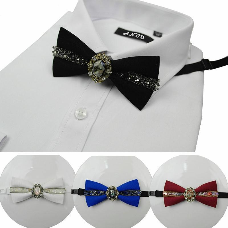 Korean Luxury Diamond Bow Tie Diamond Bow Brooch Flower Bowtie British Men's Wedding Suit Clothing & Accessories