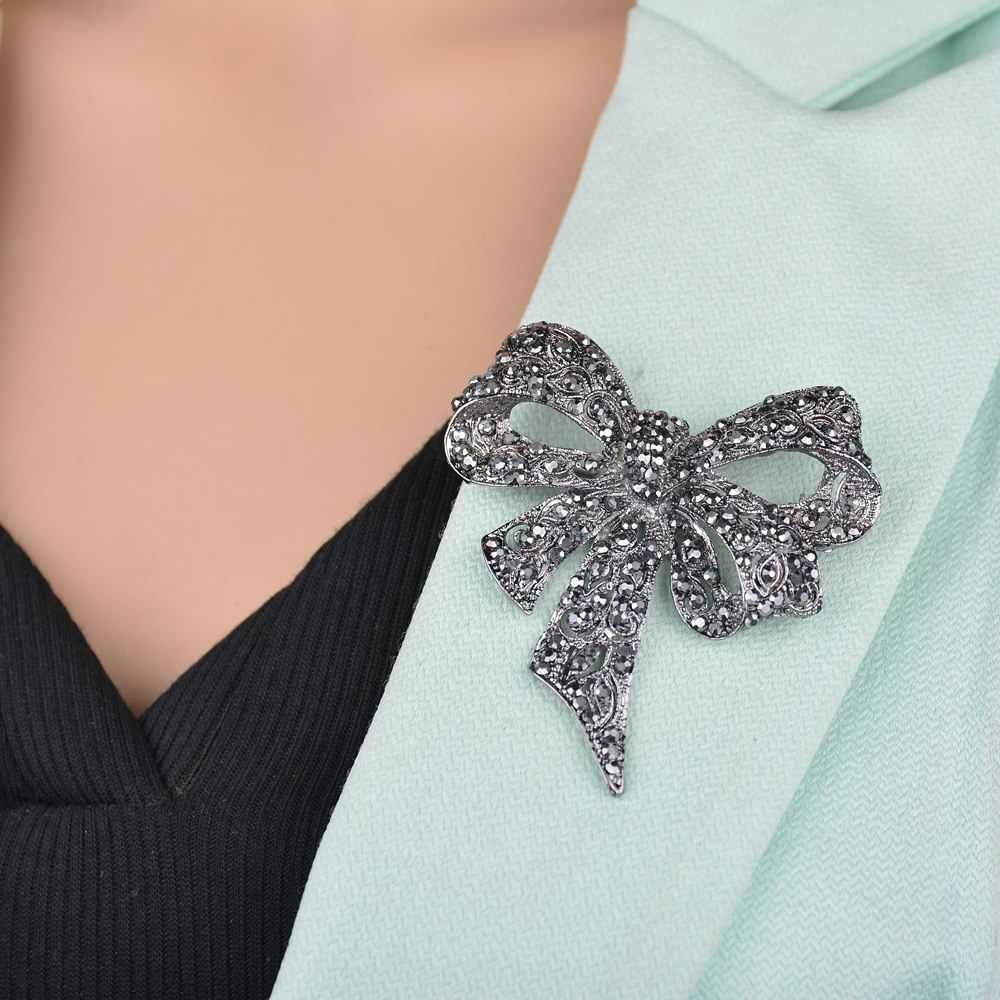 Yobest黒弓のブローチ大ちょうブローチピンヴィンテージファッションジュエリー冬のアクセサリー