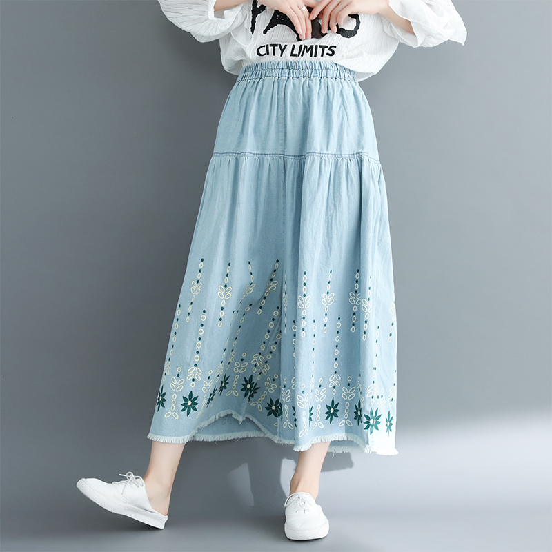 Qiukichonson Jeans Woman 2019 Autumn Wide Leg Pants Vintage Korean Fashion High Waist Plus Size Printing Ankle-Length Pants