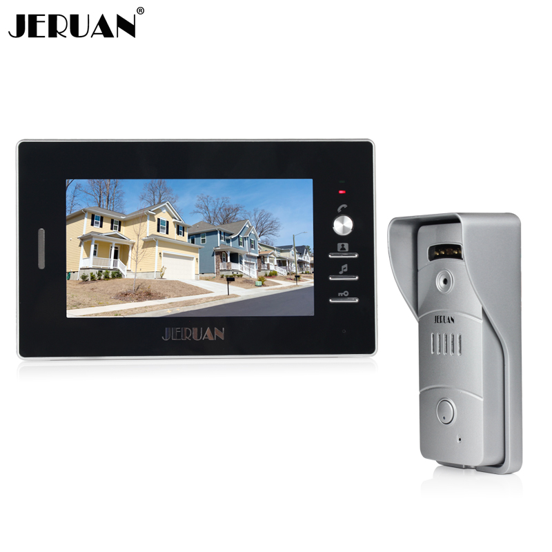 JERUAN NEW 7 inch LCD TFT Color Video door phone Intercom system 700TVL camera outdoor with waterproof camera IR Night door intercom video cam doorbell door bell with 4 inch tft color monitor 1200tvl camera