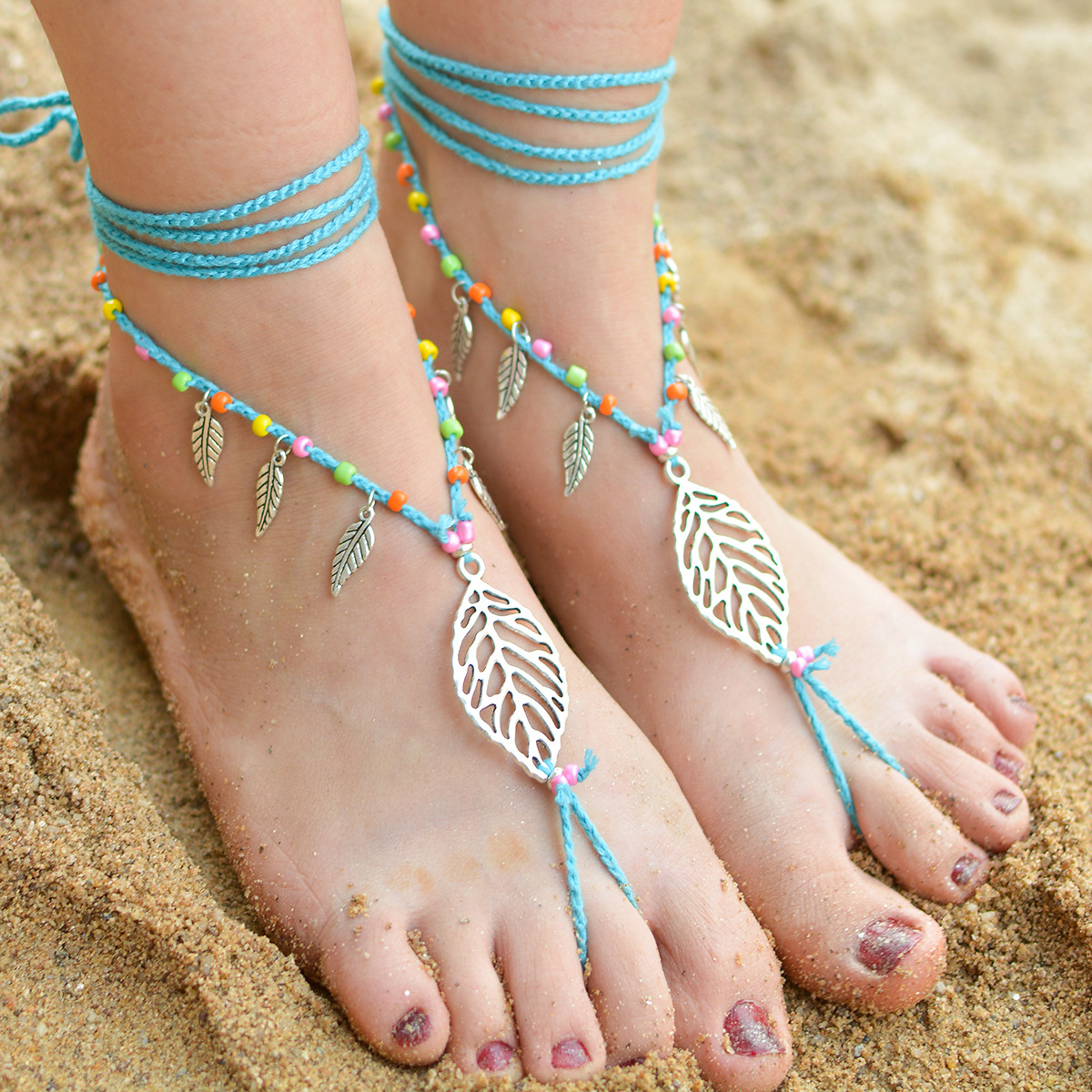 2017 Rope Slave Ankle Bracelet Beach Crochet Handmade Beads Cotton Barefoot  Sandals Women Boho Vintage Leaf Tassel Bridal Anklet